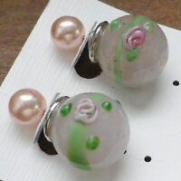 boucles d'oreilles percées motif boule double pâte de verre et perle 4146