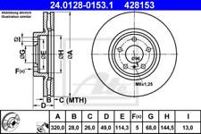 2x Bremsscheibe für Bremsanlage Vorderachse ATE 24.0128-0153.1