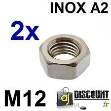2x Ecrou hexagonal H (HU) - M12 - INOX A2 - DIN 934