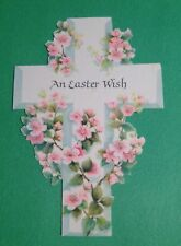 Vtg 1960s Easter Wish Greeting Card Cross Apple Blossom Hallmark Used