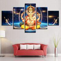 Lord Ganesha Painting Great Hindu God Poster Wall Art Home Decor 5p Canvas Print