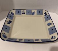 "Vintage 1992 Hartstone Pottery Blue Orchard 11 1/8"" X 12"" Serving/Casserole Dish"