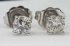 0.34 EGL Certified Round Brilliant Diamond Stud Earrings in 14kt White Gold NEW