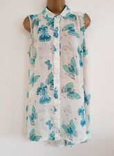 NEW Plus Size 16-32 Butterfly Print Green White Blue Chiffon Tunic Top Blouse