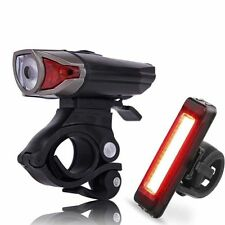 Premium LED Bike Light Rechargeable Helmet Headlight + Rear Lamp Waterproof OZ