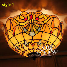 Tiffany coloured glaze Flush Mount Stained Glass Ceiling Lamp Chandelier Hanging