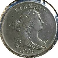 1808 1/2C Draped Bust Half Cent, with almost 180 degree die rotation (56359)