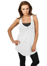 Urban Classics Ladies Long Leo Print Loose Tank Top lang weit white/black M