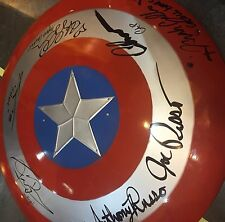 Captain America cast Evans Renner etc signed large metal shield EXACT PROOF COA
