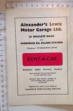Alexander's Lewis Motor Garage, Rent A Car, Stornoway, Scotland, Vintage Advert,