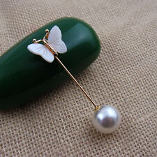 New Fashion White Shell Butterfly Gold Pin Pearl Ball Brooch