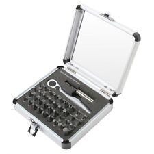 38-Piece Mini Ratchet Bit Set Quick Release Extension Bar Chrome Aluminum Case