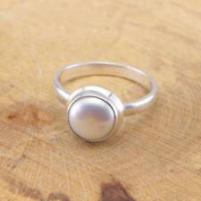 River Pearl 925 Sterling Silver Solitaire Ring UK Size T 1/2-US 10 Jewellery