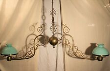 Ancien et grand lustre de billard à deux opalines vertes XIX ème siècle