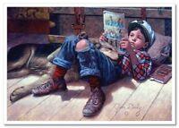 Little Boy reads comics Sleeping Dog by JIM DALY KIDS Modern Postcard