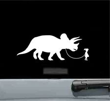 Girl walking a Triceratops dinosaur vinyl decal sticker bumper car truck