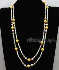 4-5mm White and 9-10mm Yellow Round Natural pearl & Yellow crystal Necklace-6409