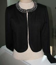 6ce4b12b0ded13 Damen Bolero Strickjacke schwarz mit Verzierungen Schulterjäckchen Gr M