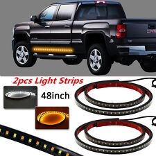 2Pcs Dual Color 48''LED Light Strip Car Turn Signal Indicator Parking Lights DRL