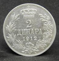 SERBIA 2 DINARA 1912  SILVER COIN   #1089