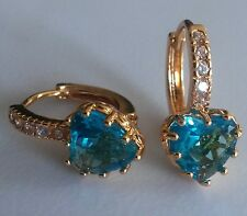 FH Plum UK real yellow gold filled French hoop earrings aquamarine heart BOXED