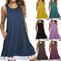 Summer Womens Ladies Sleeveless Lace Casual Dress Loose Beach Short Dresses AB