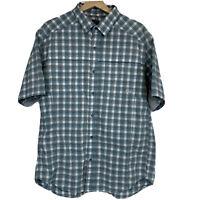 REI Vented Button Up Shirt Mens Sz L Large Blue White Check Short Sleeve R10