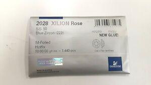 sealed package,1440 swarovski hot-fix xilion flatbacks,10ss blue zircon #2028