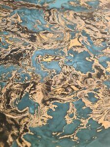 Liquid Marble Wallpaper Aqua/gold