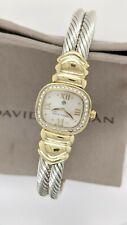 David Yurman 18K Gold & Silver Cable Bracelet Watch - Diamond Bezel - 21mm