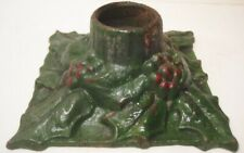 Old Antique 1920s Cast Iron Christmas Candle Holder Holly & Leaves Signed Snead