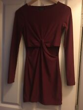 Red Topshop Long Sleeve Wrap Cut Out Dress Size 6 Party Christmas Evening