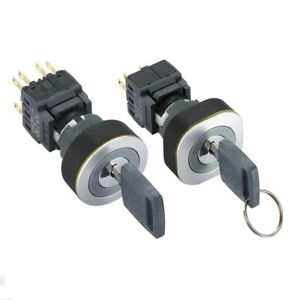 22mm IP65 2NO+2NC 2/3Position electrical switch with key 8Pins ON-OFF key switch