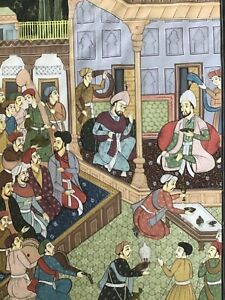 Antique / Vintage Indian Moghul Painting Hand Painted on Silk - Celebration?