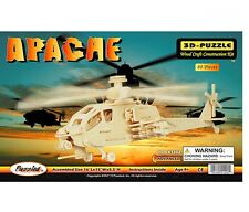 ROMPE CABEZA EDUCATIONAL TOY 3-D WOODEN PUZZLE APACHE HELICOPTER 80 PIECES