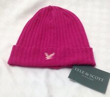 New Lyle & Scott House of Bruar Hot Pink Wool Beanie Hat RRP £35.00