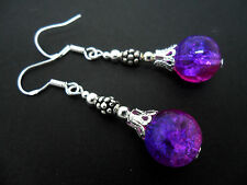 A PAIR OF DANGLY CRACKLE GLASS BEAD EARRINGS WITH 925 SOLID SILVER HOOKS. NEW..