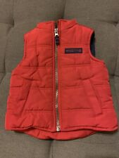 Carters Baby Boy's Red Quilted Puffer Vest w Pockets And Fleece Lined Size 12M