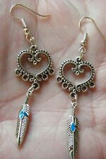 4 CT Feather & Heart Earrings BLUE Turquise Faux Inlay Silver FILAGREE Lot 4 NEW
