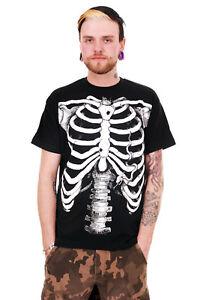 Mens Skeleton Top Tee Punk/Rock Emo Halloween