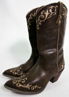 "Crush by Durango 12"" Chocolate Scroll Western Cowboy Boots Womens 6M"