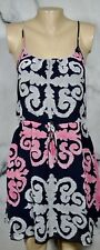 BANANA REPUBLIC MILLY COLLECTION Navy Blue Pink Gray Medallion Print Dress 0