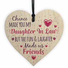 Chance Made You My Daughter In Law Wooden Heart Sign Friendship Gift Thank You