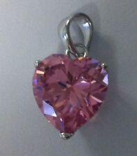 cubic zirconia 925 silver pendant heart 10mm heart pink cz bobin boutique