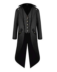 VERNASSA Mens Steampunk Vintage Tailcoat Jacket Gothic Victorian Medieval Coat