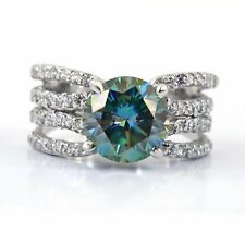 3.80 Carat Certified, Gorgeous Blue Diamond Engagement Ring with White Accents