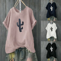 New Women Casual Solid Color Cactus Print Loose Short Sleeve Shirt Blouse Top US