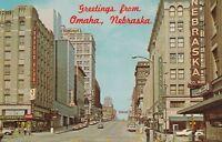 (X)  Omaha, NE - Greetings From - Street Scene on Farnam - Looking West