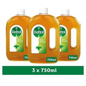 3 x Dettol Original Liquid Antiseptic Disinfectant for Fist Aid 750ml