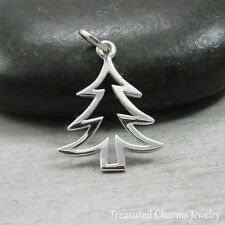 925 Sterling Silver Christmas Tree Charm - Pine Tree Pendant Jewelry NEW